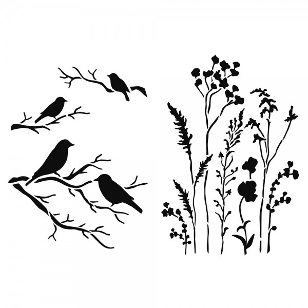 Schablone Gräser & Vögel