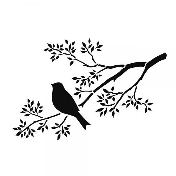 Schablone Zweig mit Vogel