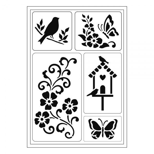Flex-Schablone A5 Vogel/Schmetterling